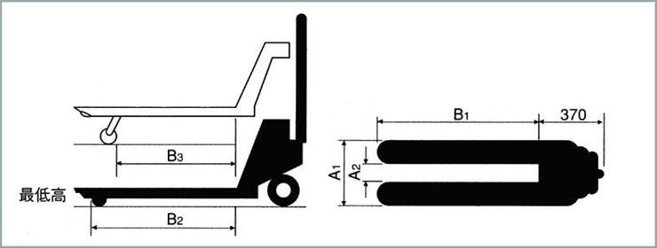 ハンドパレットトラック 標準タイプ 仕様図